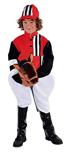 narrenkiste M212002-164-A schwarz-weiß-rot Junge Mädchen Kinder Jockey-Reiter Kostüm - Jockey Kostüm Kind