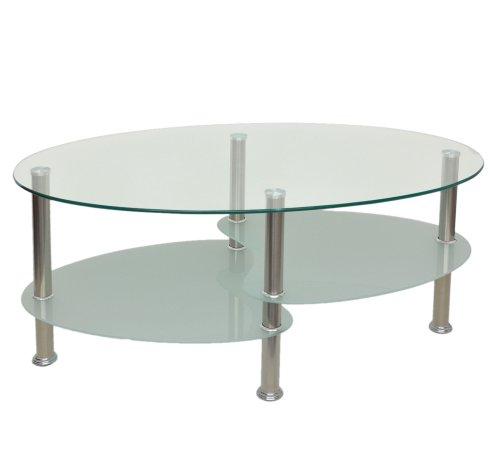 Glastisch Beistelltisch Couchtisch Oval Edelstahl mit 8 mm ESG Sicherheitsglas