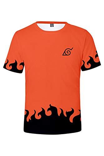 RedJade Herren Damen Anime Cosplay Kostüm Kyuubi Uzumaki Naruto Kurzarm T-Shirt (Kyuubi Naruto)