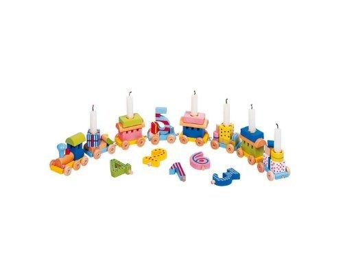 Holzzwerge Geburtstagszug mit Zahlen 1-10 und 10 Kerzen