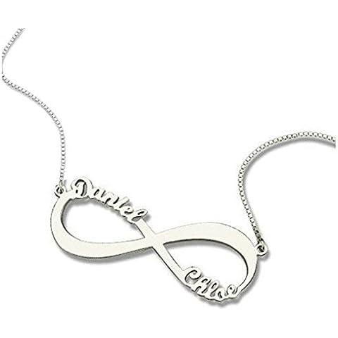Hacool Colgantes personalizados del collar del nombre del infinito de los pares de plata esterlina 925 por encargo con cualquier nombre