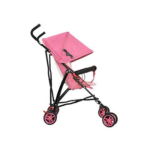 BLWX - Chariot à accoudoirs Ultra-léger pour Poussette Universelle Quatre Saisons avec Parapluie, 6-30 Mois Poussette (Couleur : Pink)