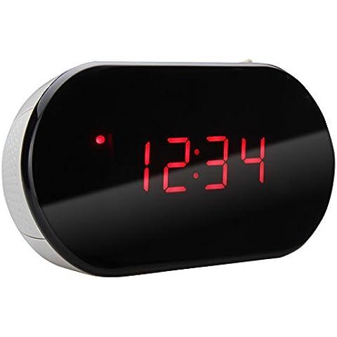 Excelvan - Radio despertador digital con pantalla LED (FM, Alarma, Reloj, Control de volumen), Gris