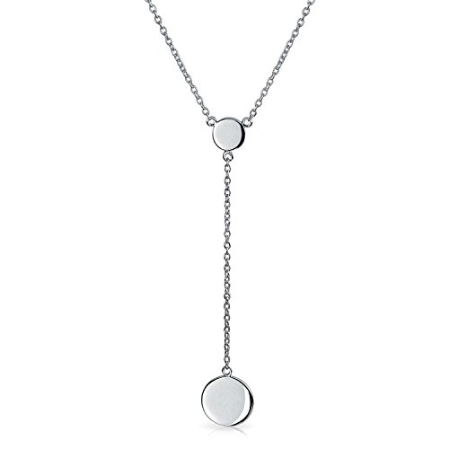 Bling-Jewelry-925-Sterling-Silber-moderne-Double-Disc-Lariat-Halskette-16in