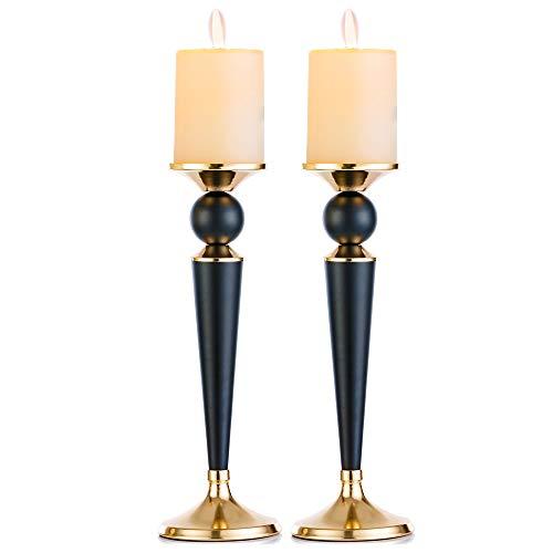 Nuptio Kerzenständer Aus Metall, 2er-Set, Kerzenständer Hochzeit Mittelstücke Ideal Für Wachs/LED-Stumpenkerzen Esszimmer Tischdekoration, Black & Gold (2 x Groß) (Mittelstücke Für Hochzeit Verkauf)