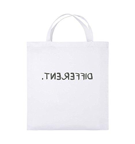 Comedy Bags - DIFFERENT - GESPIEGELT - Jutebeutel - kurze Henkel - 38x42cm - Farbe: Schwarz / Silber Weiss / Grau