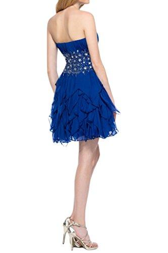 Sunvary Suess Traegerlos Herzform Falte Chiffon Pailette Perlen Cocktailkleid Neu Kurz 2015 Abendmode Royalblau