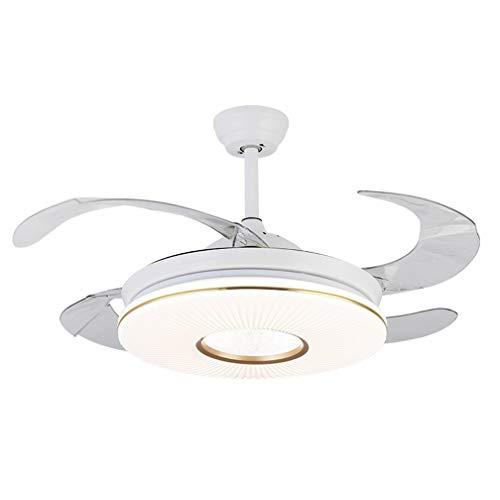 LHY LIGHT Ventilador de Techo con luz Moderna Regulable Lámpara con 4 Cuchillas retráctil luz Colgante...