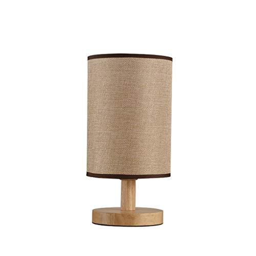 Tischleuchte Massivholztisch, runde Form Tuch Craft Lesetisch, Schlafzimmer Nachtnachtlicht, Push...