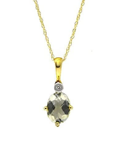 Ivy Gems 9ct Yellow Gold Green Mint Quartz and Diamond Pendant with 46cm Prince of Wales Chain