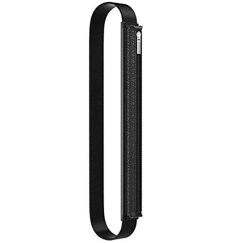 Dadanism Stift Halter Kompatibel mit Apple Pencil 1st/2nd Gen/iPad Air 3 10.5 2019/Pro 11/12.9/10.5/iPad 9.7 2018/2017, Echt Leder Hülle Tasche mit Gummizug & Reißverschluss - Schwarz