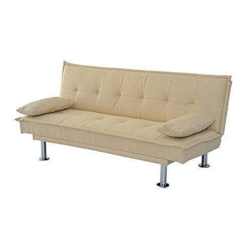 Homcom divano letto in tessuto e spugna con 2 cuscini 181 x 83 x 85cm beige