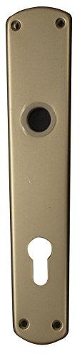 Alpertec aluminium Langschild für Haustüren PZ alusilber Drückergarnitur Türdrücker Türbeschläge, 92 mm, 40110500K1
