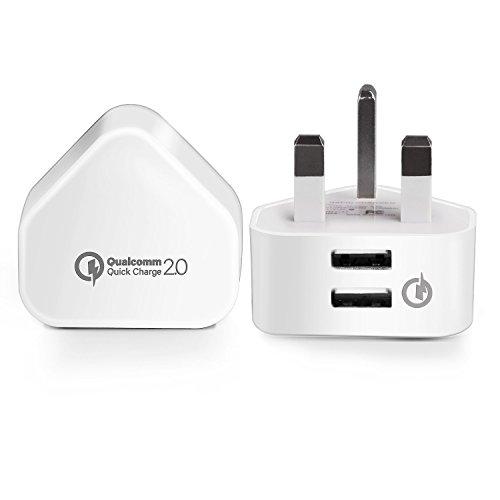 Main USB Charger,Ubeesize 2AMP Dual USB Charger Plug 15W Wall USB Qualcomm Quick Charge For iPhone X iPhone 8 iPhone 8 Plus iPhone 7 / 6 / 6 Plus,Samsung S8 / S7 Edge, Nexus, HTC M9, Motorola, LG
