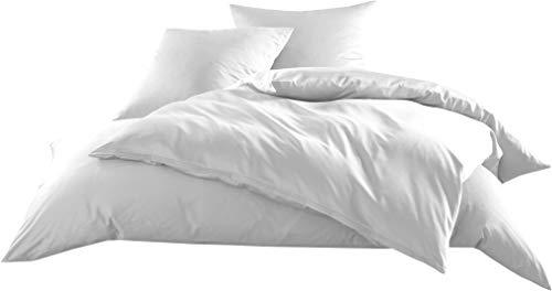 Mako-Satin Baumwollsatin Bettwäsche Uni einfarbig zum Kombinieren (Bettbezug 140 cm x 200 cm, Weiß)