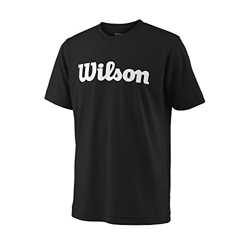 Wilson Jungen/Mädchen Sport-Kurzarmshirt, Y Team Script Tech Tee, Polyester, Schwarz/Weiß, Größe: XL, WRA770702