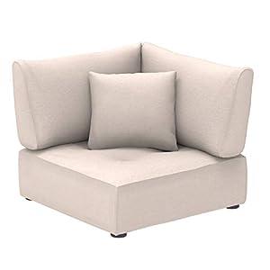 Alkove Elvas - Modulares Sofa, Eckmodul mit Stauraum und extra Kissen, 100x100cm, Beige