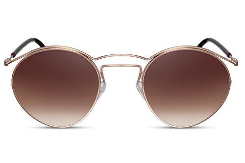 Cheapass Damen Sonnenbrille Rund Gold Braune Gläser UV400 Metall