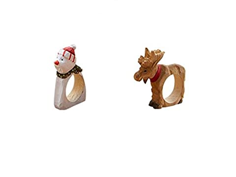 Bois Conforme à la couleur à la main de bois Animal rond de serviette pour dîners, les fêtes, à la maison et décor de cuisine, décoration de Noël Snowman 1+Reindeer