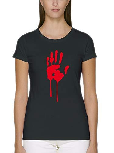 clothinx Damen T-Shirt Fit Bio und Fair Halloween Bluthand Schwarz Größe - Walking Dead Girl Kostüm
