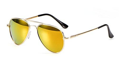 Miuno Kinder Sonnenbrille Metalgestell Pilotenbrille für Jungen und Mädchen mit Etui 4025k (Rotgoldverspiegelt/Goldgestell)