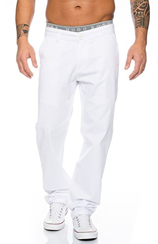 Rock Creek Herren Designer Chino Stoff Hose Chinohose Regular Fit Herrenhose W29-W40 RC-2083 [RC-2083 - Weiß - W36 L30]