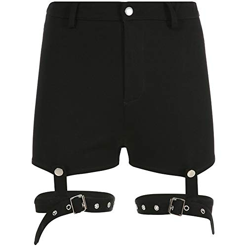 Gothic Shorts Frauen Hohe Taille Party Club Bodycon Hot Shorts Sommer Feminino Sweatpants Metallknopf Deco,black1,L