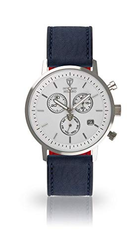 DETOMASO Milano Mens Watch Chronograph Analogue Quartz Dark Blue Leather Strap White dial DT1052-B-829