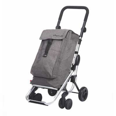 Einkaufstrolley aus Alu mit 4 Rädern und Thermofach Playmarket Go Up Textured Ne (Kleine Kühltasche Mit Räder)