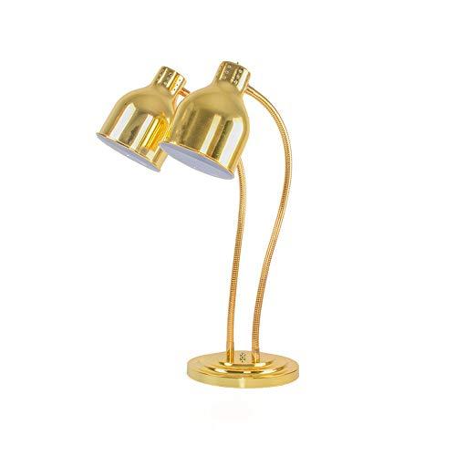 Schwarz-gold-buffet-lampe (Mmhot Lebensmittelerwärmungslampe Einzel- / Doppelbirnen-Buffet-Anzeigen-Heizungs-Erhaltungs-Licht, kommerzielle tragbare Buffet-erhitzte Tischlampe (Farbe : Gold, Size : Double Head))