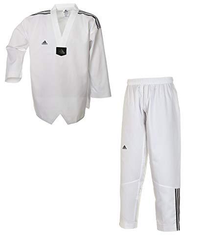 aidas Taekwondoanzug, Adi Club 3 stripes, weißes Revers T/190 cm