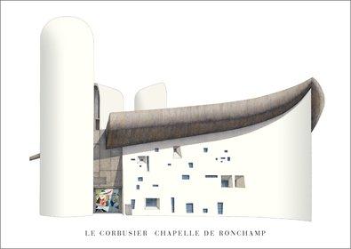 Reproduktion Le Corbusier (Le Corbusier Ronchamp Poster Kunstdruck Bild 50x70cm)