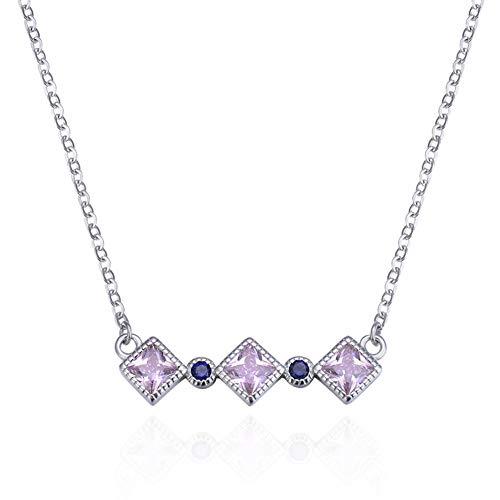 RHHY-FIROD Diamant-Halskette aus 925er Sterlingsilber, von Hand mit lila Zirkon besetzt, 360 Grad poliert -