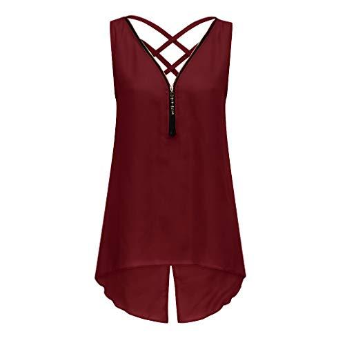 KIMODO Tank Tops Damen Unregelmäßiger Saum mit Reißverschluss und V-Ausschnitt, Sommer Camisole Bluse ärmelloses T Shirt, Zurück Criss Cross Weste