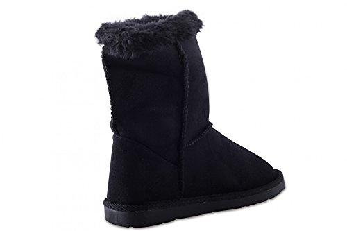 Bottes pour enfant chaussures pour enfants bottes d'hiver neige bottes doublées chaudes de glissement pour fille Noir - Noir
