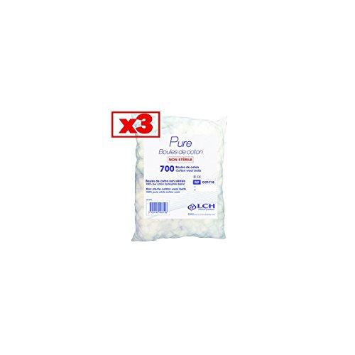 Boules De Coton 100% Coton Hydrophile Carton De 3 Sachets De 700 Boules - Cot-718_3 - By Antigua Health Care