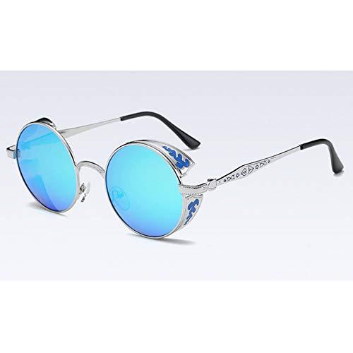 YOGER Sonnenbrillen Gold Polarisierte Gothic Steampunk Sonnenbrille Beschichtung Verspiegelten Runden Kreis Sonnenbrille Retro Vintage Schwarz