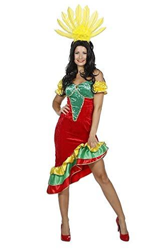 Wilbers Sambakostüm Rio Brasilien Brasilianerin Kostüm Flamenco Karneval Fasching Damen Rot/Grün/Gelb 44
