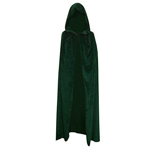 Brightup Gothique Manteau à Capuche En velours Cape Médiévale Sorcellerie Costume Halloween Pour Enfant Adultes Vert