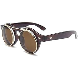 ALWAYSUV Unisex Round Verspiegelt Linse Metall Rahme Retro Sonnenbrillen