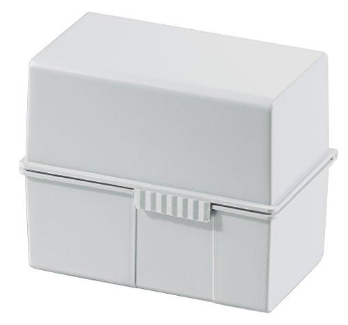 HAN 976-11, Karteibox DIN A6 quer, Innovatives, attraktives Design für max. 400 Karten mit Stahlscharnier, lichtgrau- weitere Farben auswählbar