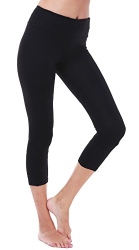 DeepTwist Yoga Capri Workout Hosen Active Slim Strumpfhose Power Flex Leggings Yoga Hose Damen 3/4 mit Tasche, UK-DT4004-Black-8