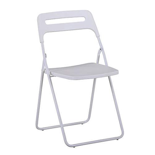 KHL Upgrade Kunststoff Haushalt Klappstuhl, Einfache Studentenwohnheim Computer Stuhl Büro Lounge Stuhl Modernen Esstisch Und Stuhl (Farbe : Weiß)