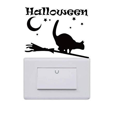 TNIEG Schalter Aufkleber Kreative Halloween Wandtattoos Dekoration Halloween Katze Silhouette Vinyl 12,4 * 9,9 cm