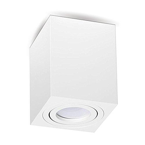 Aufbauleuchte Deckenleuchte Aufputz DIMMBAR MILANO -LANG- 5W LED Warmweiss GU10 230V [quadrat, weiss, schwenkbar] Deckenleuchte Strahler Würfelleuchte Cube Kronleuchter aus Aluminium