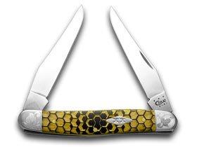 CaseXX XX Honey Comb Black Delrin Scrolled Bolster 1/500 Muskrat Pocket Knife Knives