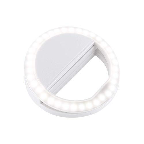 Selfie Licht SL36 - Ringlicht - Smartphone - Tablet - iPad - MacBook - Handtasche, iPhone, Selfielight Weiss