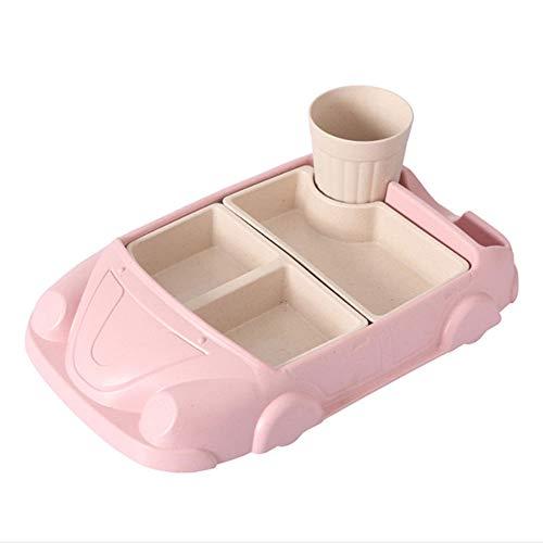 YAHUA LI Kinder Cartoon Auto Platte, Bambusfaser Baby Anti-Fall Bowl, Umwelt Besteck mit Wasserbecher, abnehmbare Auto Form Baby Tray, Kindergeschenke,Pink De Li Container