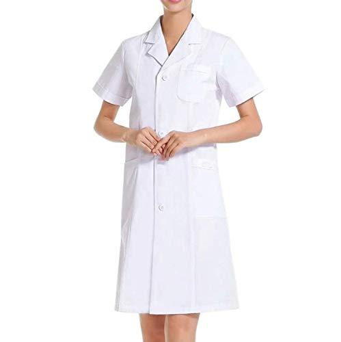 IKWO Nuovo Donna Uomo Unisex Camici Bianco da Laboratorio Tuta da Infermiera Abiti da Lavoro Manica Corta Abbigliamento da Laboratorio Adatta per Laboratorio,Salone di Bellezza,Ospedale,Farmacia