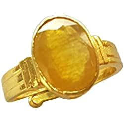 RS JEWELLERS Gemstones 5.38 Ratti Natural Certified Yellow Sapphire Pukhraj Gemstone Panchdhatu Ring ,Pukhraj Birthstone Astrology Ring